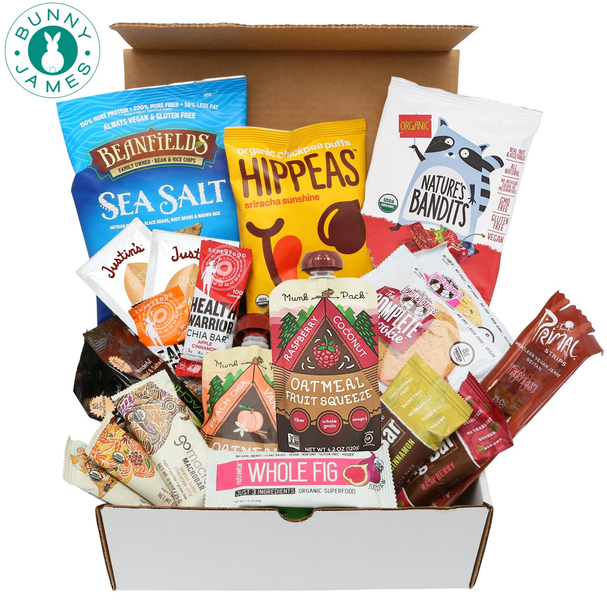 Healthy Vegan Snacks Care Package: Natural, Organic, Non-GMO, Vegan Cookies, Protein Bars, Fruit Snacks, Vegan Jerky, Chips, Nuts, Premium Assortment Vegan Gift Box