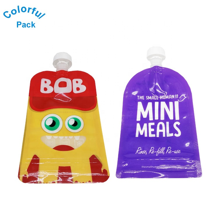 Refillable 6 oz. Toddler Squeeze Pouches baby food pouches reusable baby food packaging bag