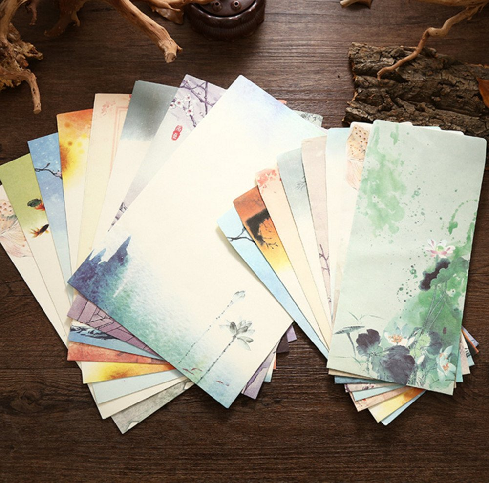 Skyseen Elegant Chinese Vintage Style Writing Paper and Envelopes Stationary Set-32 Sheets Letter Paper and 16 Pcs Envelopes
