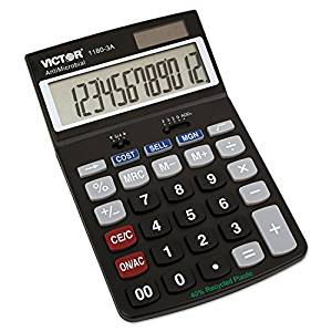 Victor 11803-A 1180-3a Antimicrobial Desktop Calculator, 12-Digit Lcd