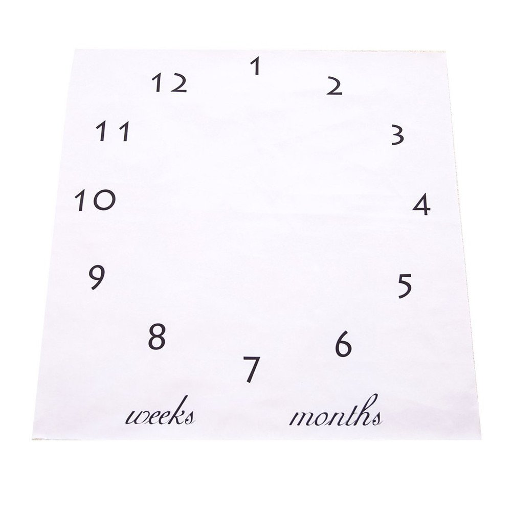 NinkyNonk Personalized Baby Monthly Milestone Blanket Newborn Monthly Photo Blanket Photo Props Shoots Backdrop for Boys Girls (white)