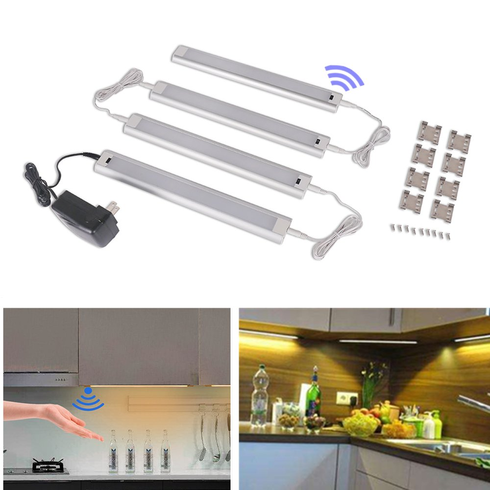 UNOSEKS 4 Panels LED Under Cabinet Lighting Kit,Hand Wave Activated Sensor - Individual Control, Dimmable, Warm White - All Accessories Included, Closet Light, Under Counter Lighting