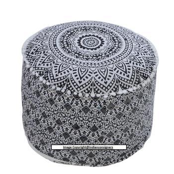 meet 2e9ef 8d32c 22''inch Ottoman Round Stool Chair Ombre Mandala Cotton Gray Puff Home  Decor - Buy Storage Ottoman,Stool Ottoman,Foldable Ottoman Storage Box  Product ...