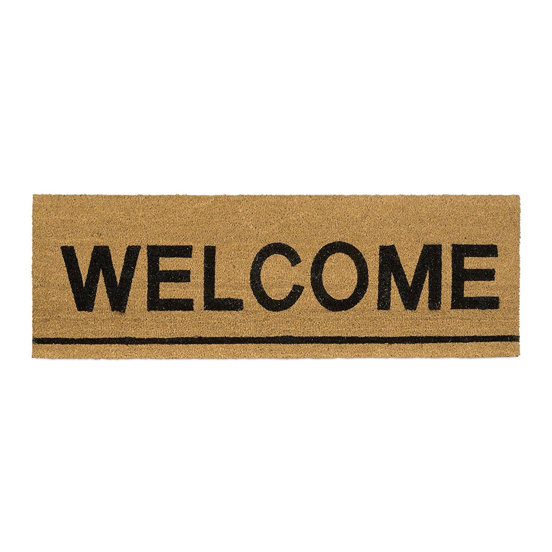 "Relaxdays Extra-Long Coir Doormat 40 x 120 cm ""WELCOME"" Mat for Wide Doors Indoors and Outdoors, Anti-Slip Rubber Underside Floor Mat, Natural"