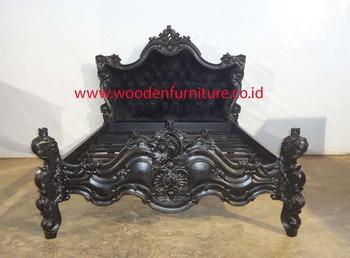 Rococo barok bed franse stijl slaapkamer set houten gesneden bed