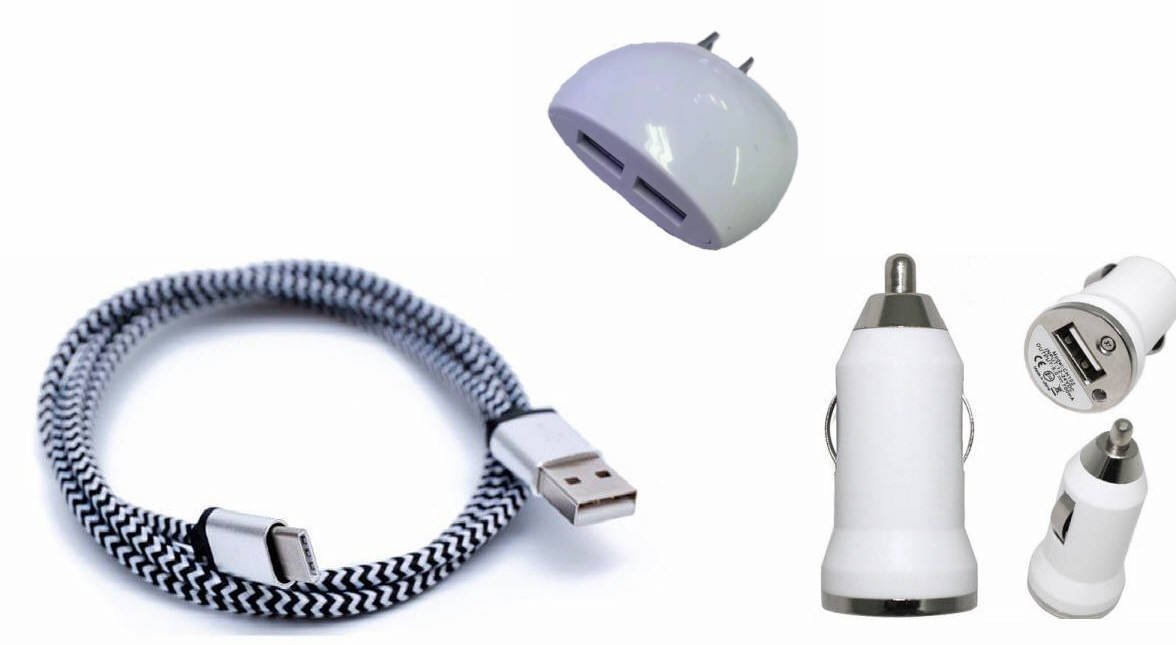 """Cricket Alcatel """"PulseMix"""" Cell-Stuff White Charging Combo Pack includes 3 Ft. Reversible Type C Cable , Dual USB Wall Home Charger and Car Charger"""