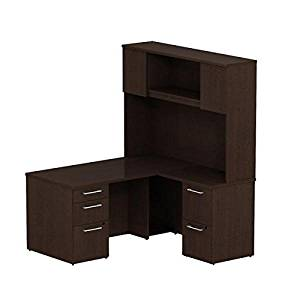 "Bush 60"" L Shaped Desk W/Hutch 60""W X 51.5""D X 72""H Front Desk 60""W X 30""D Bundle Includes: 60""W X 30""D Single Pedestal L-Shaped Desk W/2 Drawer Pedestal & Tall Hutch - Mocha Cherry"
