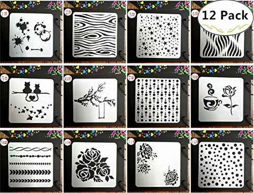 12 Drawing Painting Stencils Template Set, Magnolora Graphics Stencils for Children Creation, Scrapbooking, Bullet Journal, DIY Albums Accessories, Card and Craft Projects