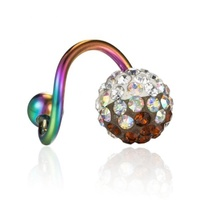 Piercing Jewelry 316L Stainless Surgical Steel Crystal Rainbow Multicolor Bend Opal Stone Barbell Tongue Navel Rings