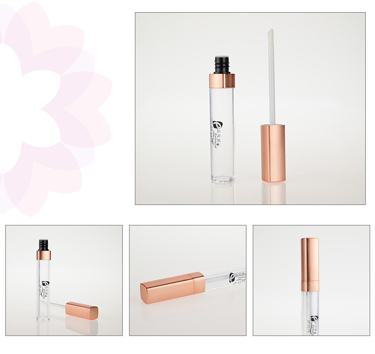 square cosmeticos packaging empty liquid clear cute lipgloss tube with gold cap