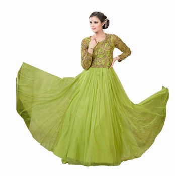 Dignified Olive Color Semi-stitched Embroidered Work Designer Gown ...
