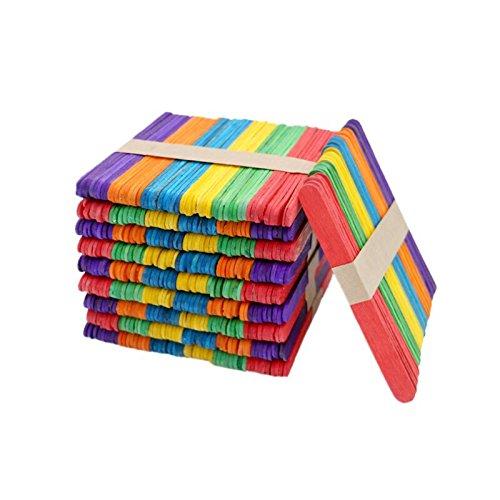400PCS Multi-Coloured Wooden Sticks, Colored Craft Sticks for DIY Art Crafts