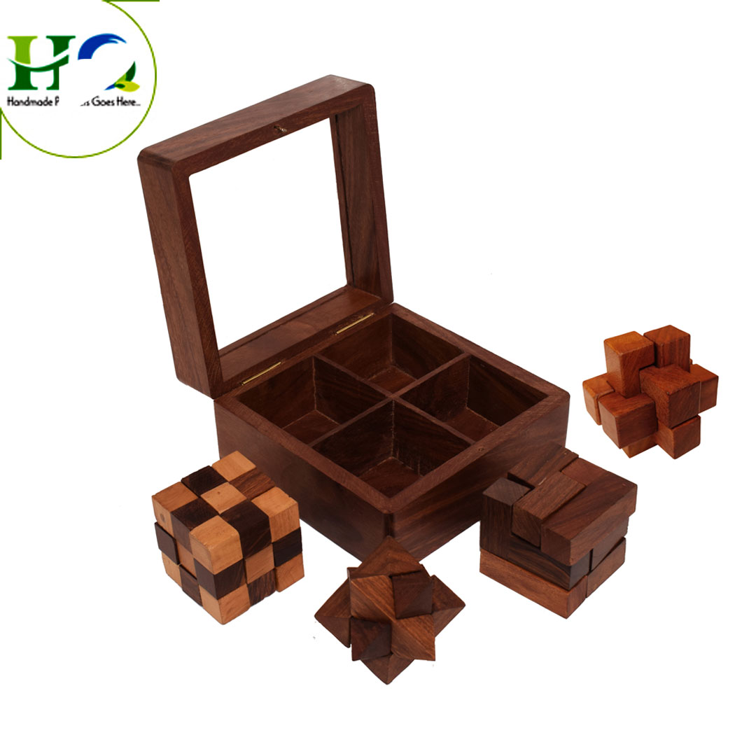 3D Wooden Brain Teaser Puzzle Wholesale Kids Wooden Educational Toys 3D Puzzle for Baby