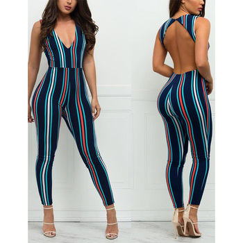 fd037c10c55 New Arrival Tight Fitting V Neck Backless Black Womens One Piece Jumpsuit  2018