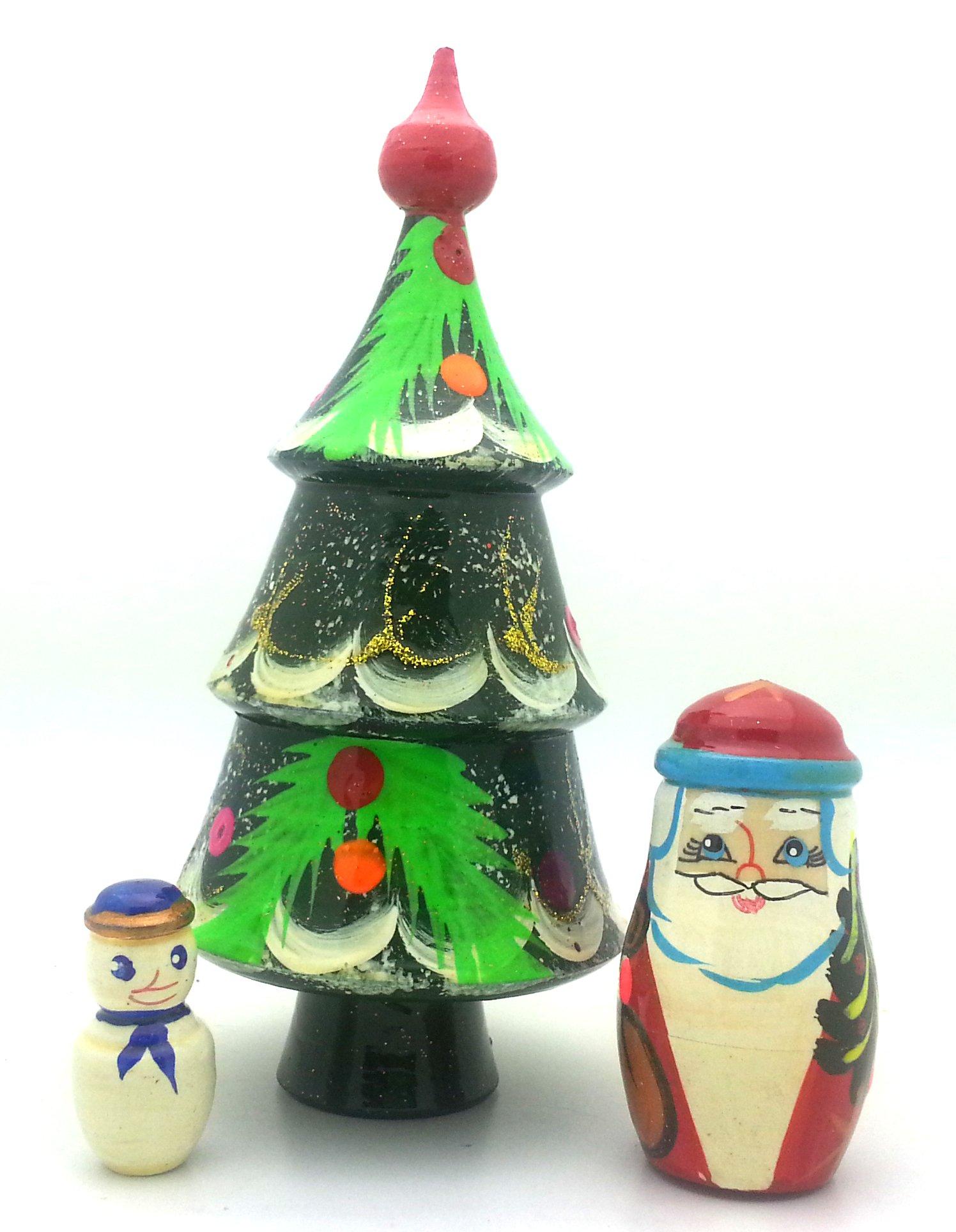 get quotations christmas tree santa snowman russian nesting dolls hand painted 3 piece set