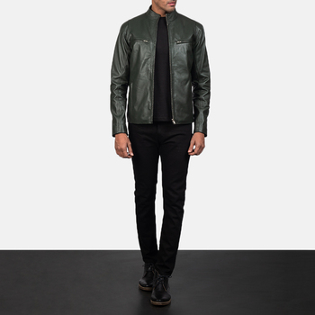 2020 Ionic Green Leather Biker Jacket For Men With High Level Quality Material - Wholesale Price