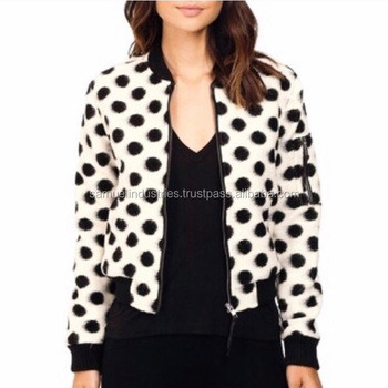 7b8f705fb White Sublimation Bomber Jacket With Black Dots Girls Sublimated Jackets  Custom Black Printed Varsity Sports Jackets For Women - Buy Women  Embroidery ...
