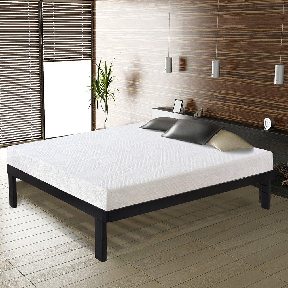 Ecos Living 14 Inch Dura Metal Wood Slate Bed Frame (King)