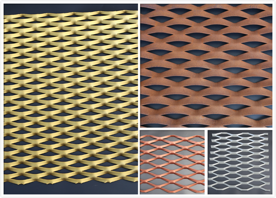 custom made aluminum expanded surface decoration facade cladding metal mesh
