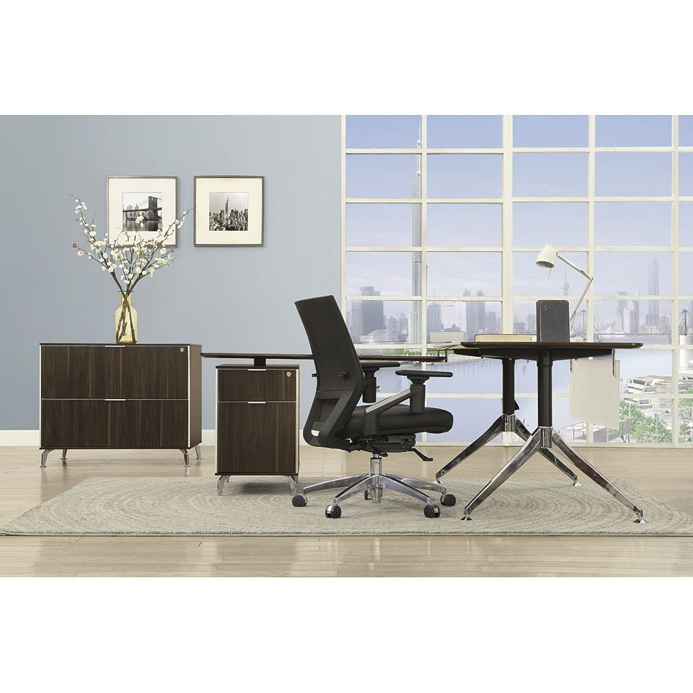 """Two-Tier 60""""W L-Desk with Reversible Return and Lateral File Dark Walnut Laminate Top/Acrylic Modesty Panel/Black and Chromed Aluminum LegWeight: 289 lbs."""