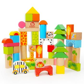 Hot new products for 2017 for children 50 pcs forest animal blocks kids wooden building block sets ASTM and EN71 Approval