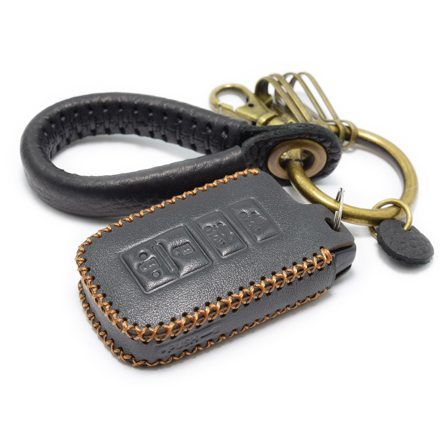 Black Leather 4 Buttons Remote Key Chain Cover For Toyota Camry Avalon Corolla