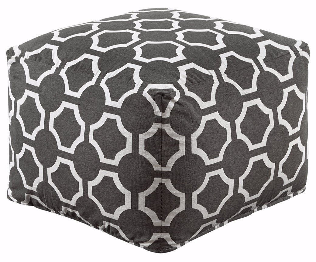 Ashley Furniture Signature Design - Geometric Pouf - Handmade - Imported - Traditional - Gray