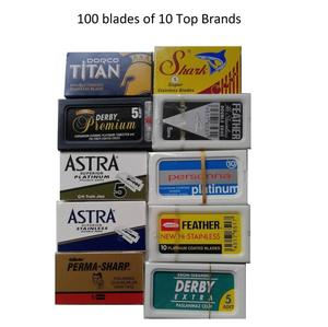 100 Shaving Safety Razor Double Edge Blades of 10 Top Brands