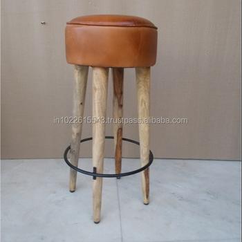 Leather Seat Wood Bar Stool Vintage