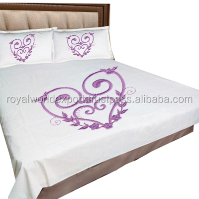 2015 indian Hand embroidery design cotton material bedsheet double bed/flower design bed sheet korea