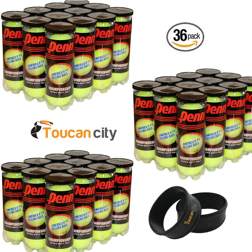 HEAD Penn Champ XD Tennis Balls, 36 Cans (3 Balls per Can) + Toucan City Grip Bands For Tennis Racket Handles
