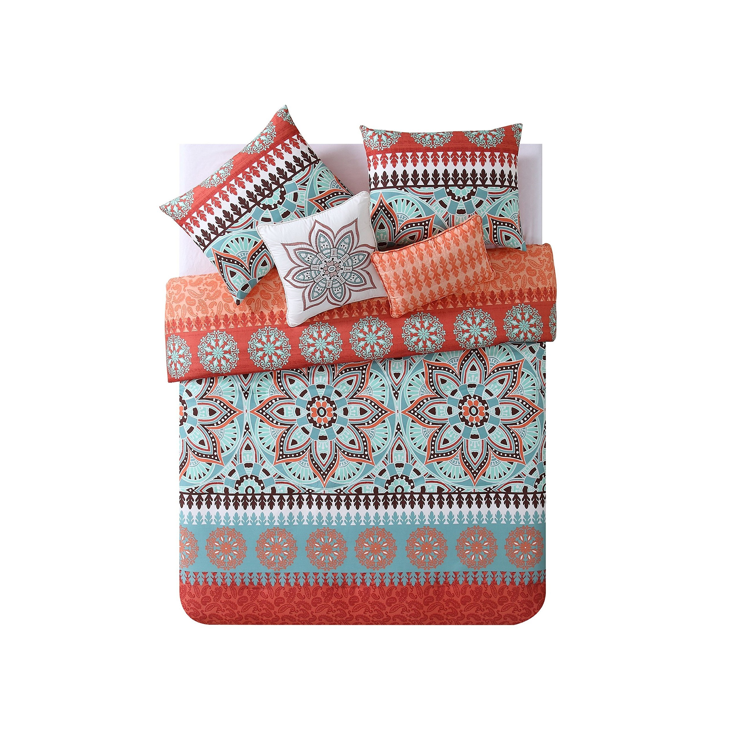 MPN 4 Piece Boho Chic Abstract Orange Floral Medallion Comforter Twin XL Set, Aqua Blue Bedding Bohemian Flowers Patterns Southwest Themed Bordered Tribal Native American Hippie, Reversible Polyester