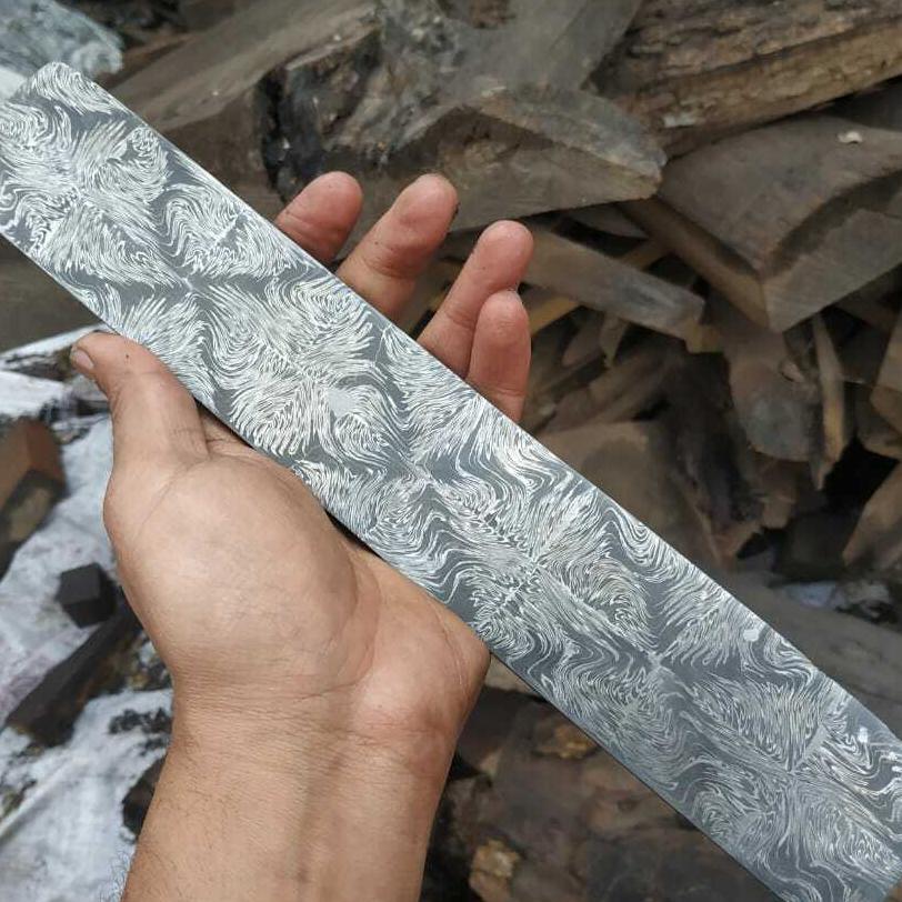 Изготовленная на заказ Дамасская стальная мозаичная заготовка для изготовления ножей