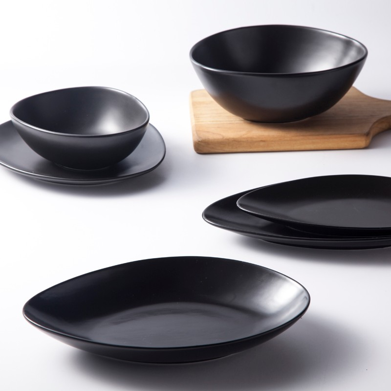 product-Two Eight-Black Dinnerware Crockery Glazed For Specialty Restaurant Banquet Hotel Unique Bla