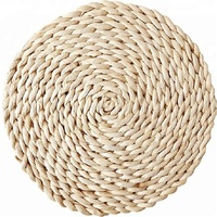 Rustic round white straw/ water hyacinth table mat. Wedding gift tea set mat