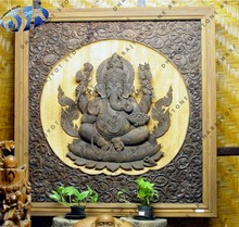 Grey Sandstone Antique Shape Hand Carved Lord Ganesha Wall Hanging