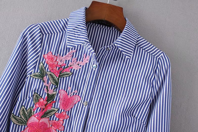 Wholesale Hong Kong Clothing Cheap Price Pinstripe Floral Embroidered Woman Dress Shirt Ladies
