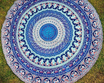 Indian Blue Round Elephant Scenic Tapestry For Wall
