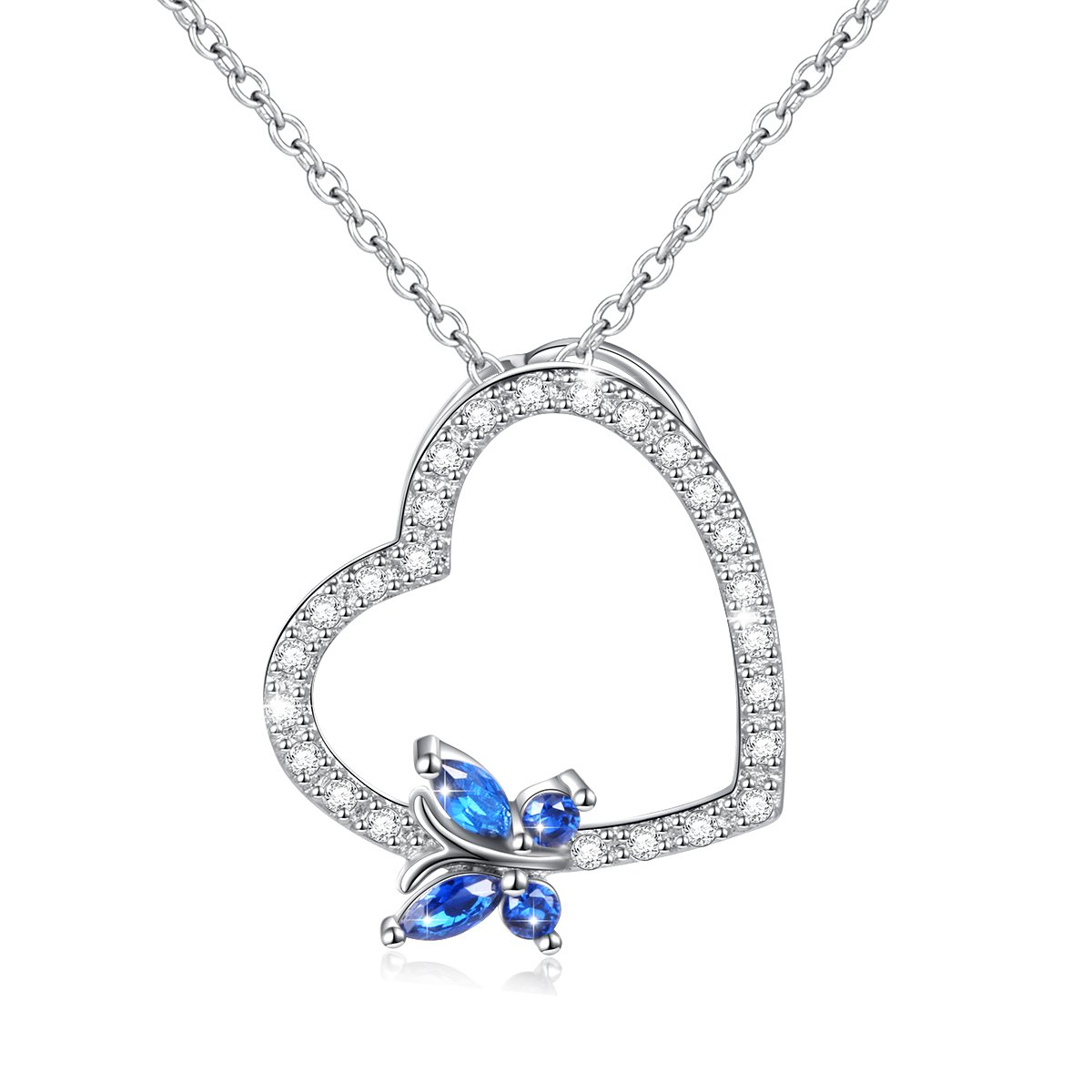 783ba547061d64 Get Quotations · Butterfly Necklace 925 Sterling Silver Blue Cubic Zirconia  Butterfly Heart Charm Necklace for Women Girls,