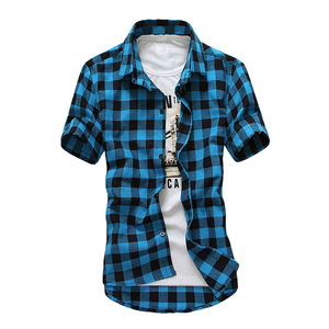 Check Design Double Layer fashion men t shirts Plain