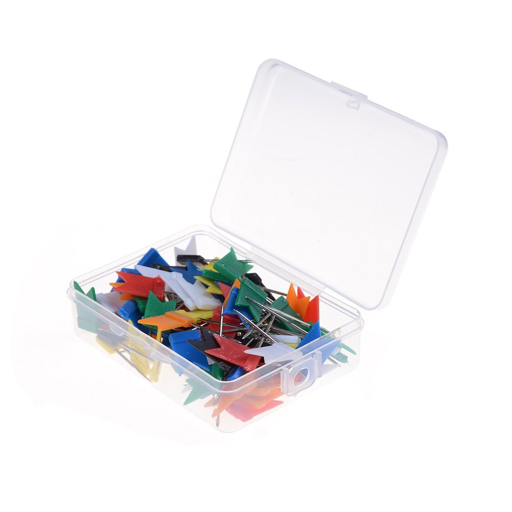 100 Pcs Multi-purpose Map Flag Push Pins Tacks with Plastic Case,Assorted Color