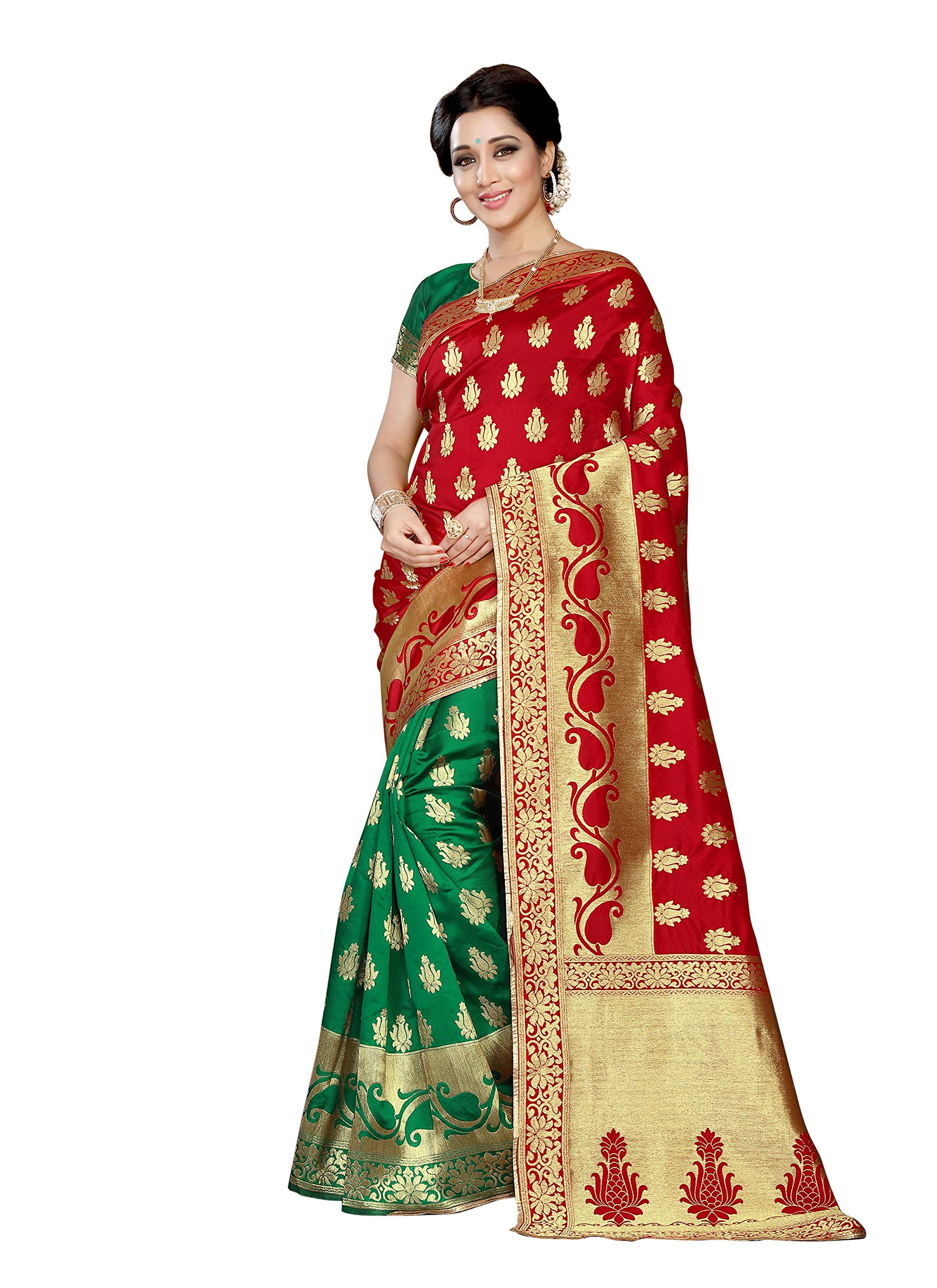 Rajnandini Women's Banarasi Silk Weaving Work Saree(JOPLLB1035D_Red And Green_Free Size)