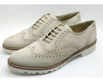 Pattini di Cuoio genuini Donne Brogues Oxfords Piatti Fatti A Mano