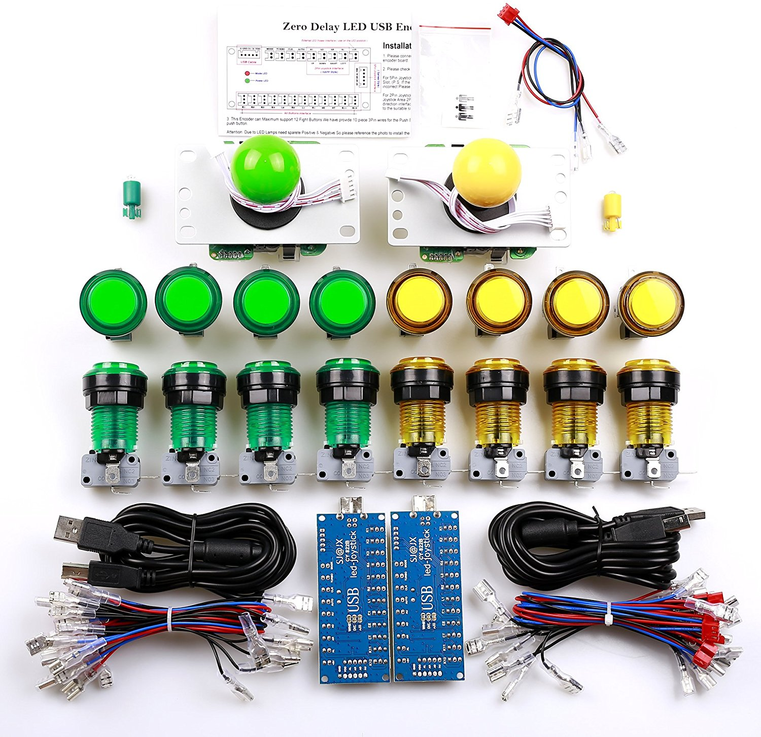JAMMA 2P Player LED Button With Microswitch for MAME Easyget