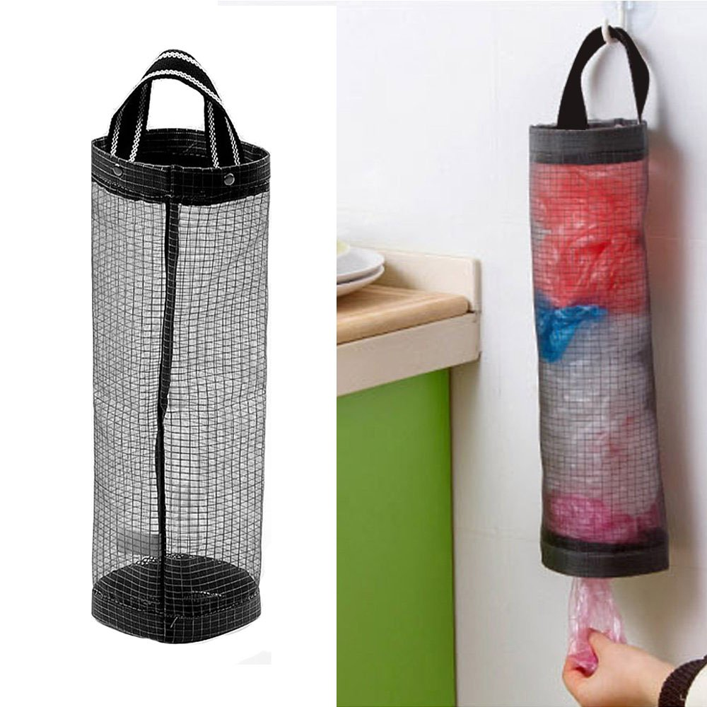 Plastic Bag Holder Dispenser /Hanging Folding Mesh Garbage Bag Organizer Trash Bags Holder Recycling Grocery Pocket Containers for Kitchen (1PCS)