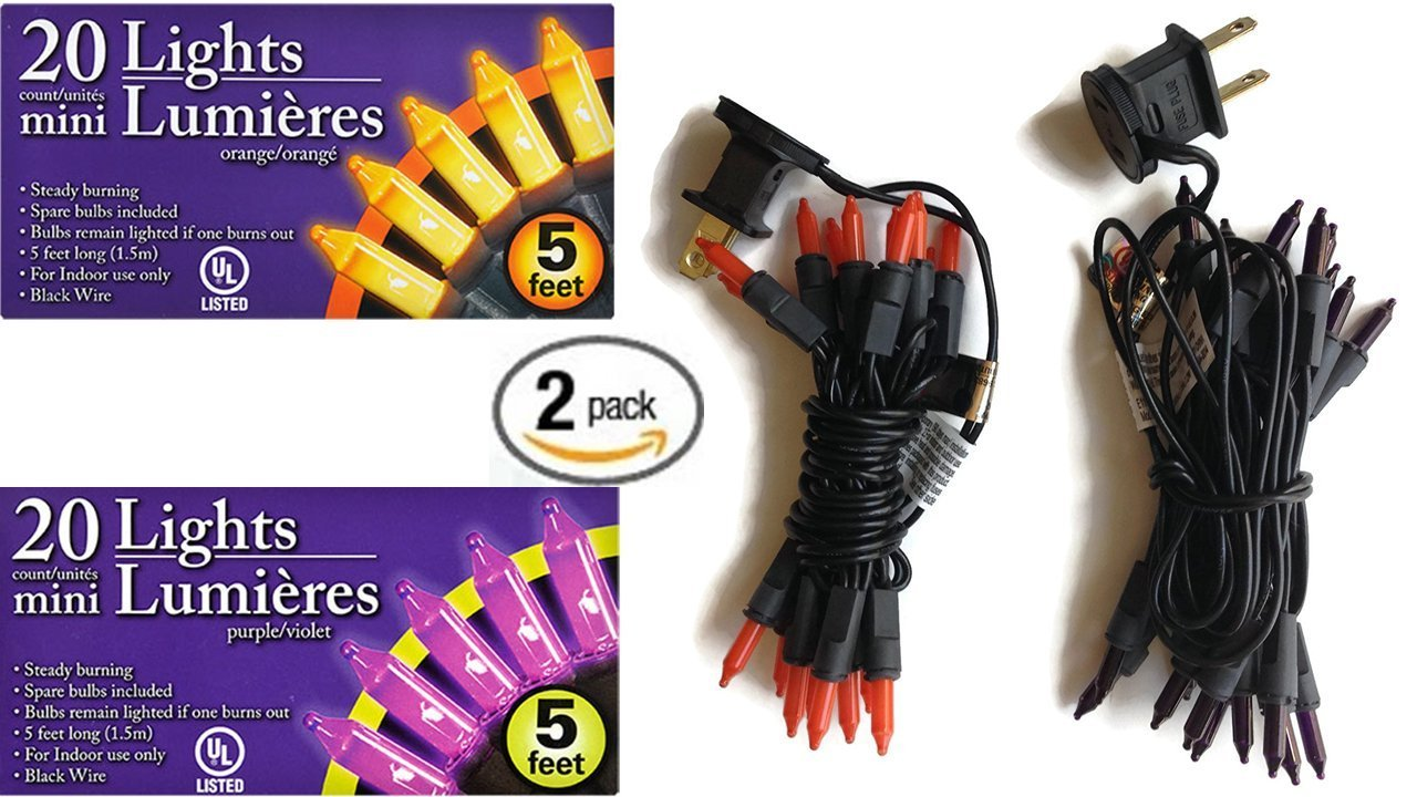 Halloween String Lights - Halloween Decor - (2 Packs Purple Orange) Halloween String Lights - Bring New Drama To Any Halloween Craft Project - Halloween Decorations - Mini LED Lights