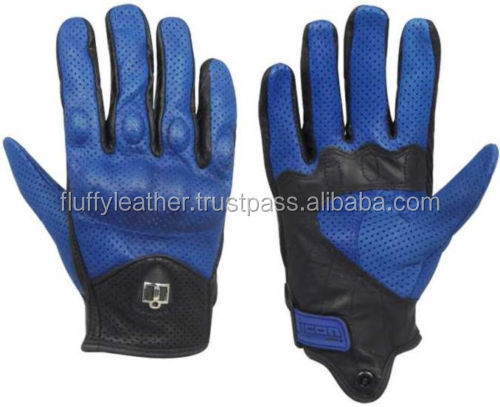 Blue Perforated Leather Riding Racing Motorcycle Gloves--MG-195