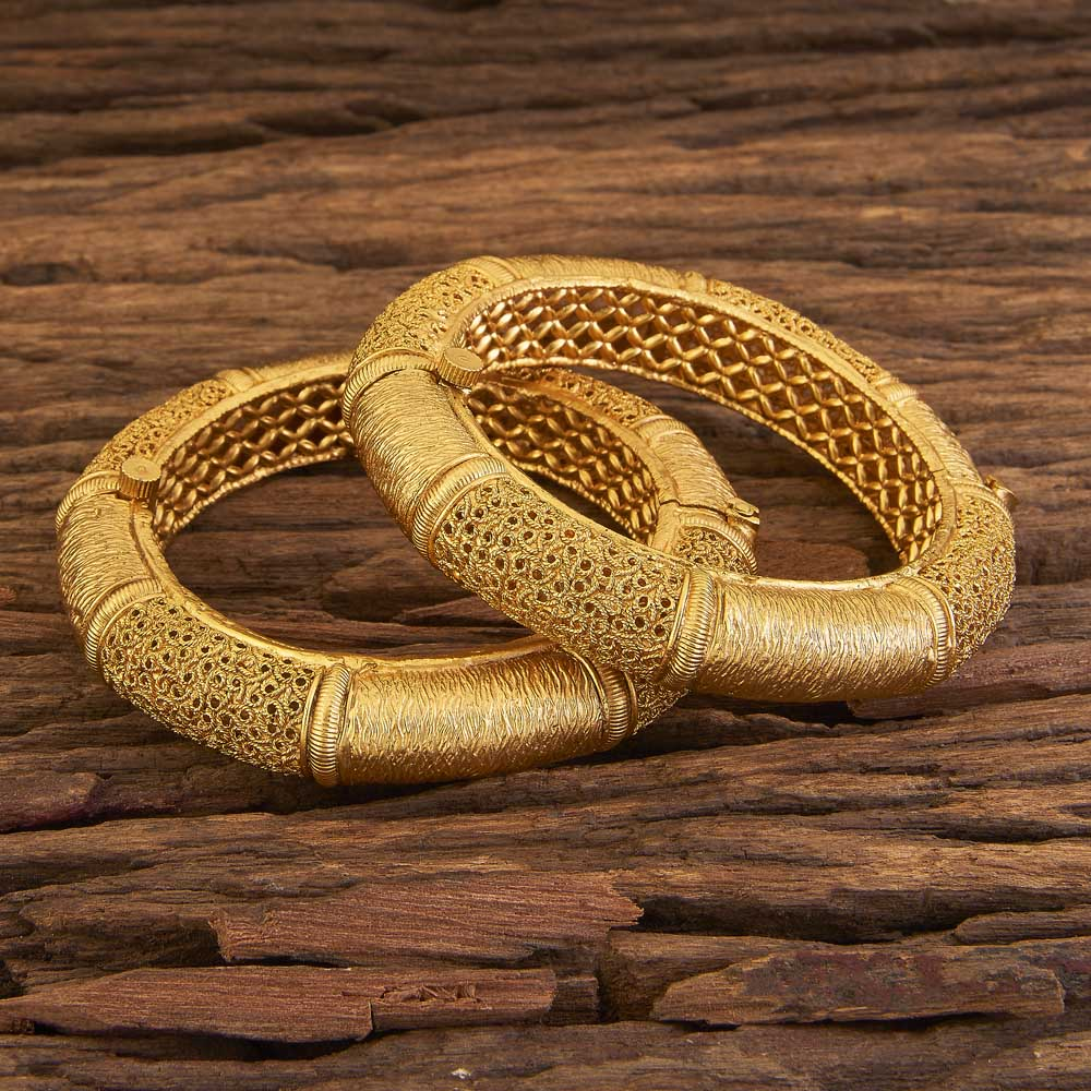Latest Openable Plain Gold Bangles 17319 Gold
