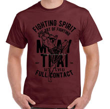 Muay Thai Full Contact Mens Martial Arts T-Shirt MMA Kick Boxing Training Top