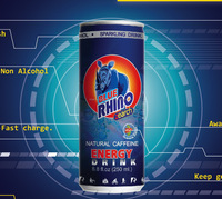 Energy drink Co2 w/ Guarana Extract Slim can 250ml Blue Rhino Brand